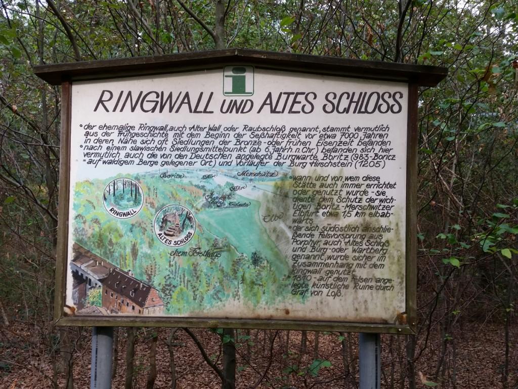 Infotafel zum Ringwall und Alten Schloss