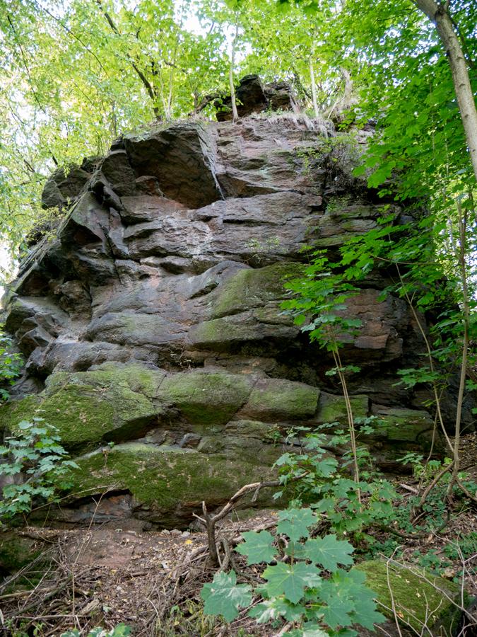 Felswand des Alten Schlosses von der Elbseite