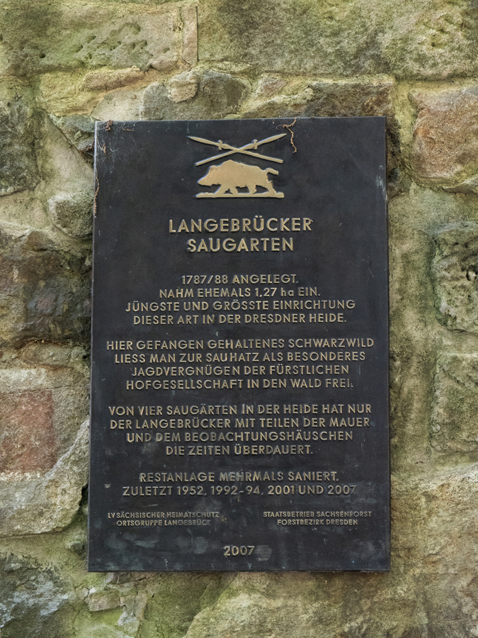 Tafel am Langebrücker Saugarten