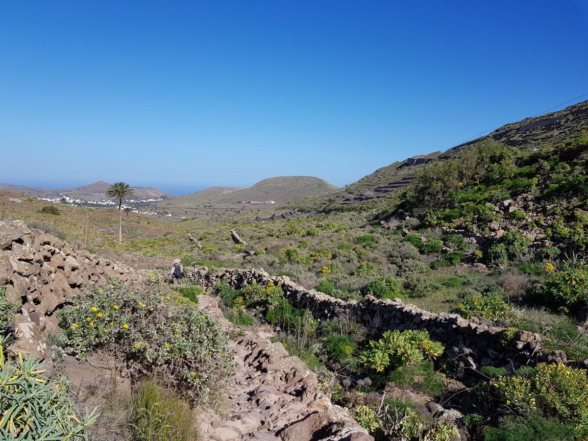 Weg durch das Trockenbett im Valle de Malpaso