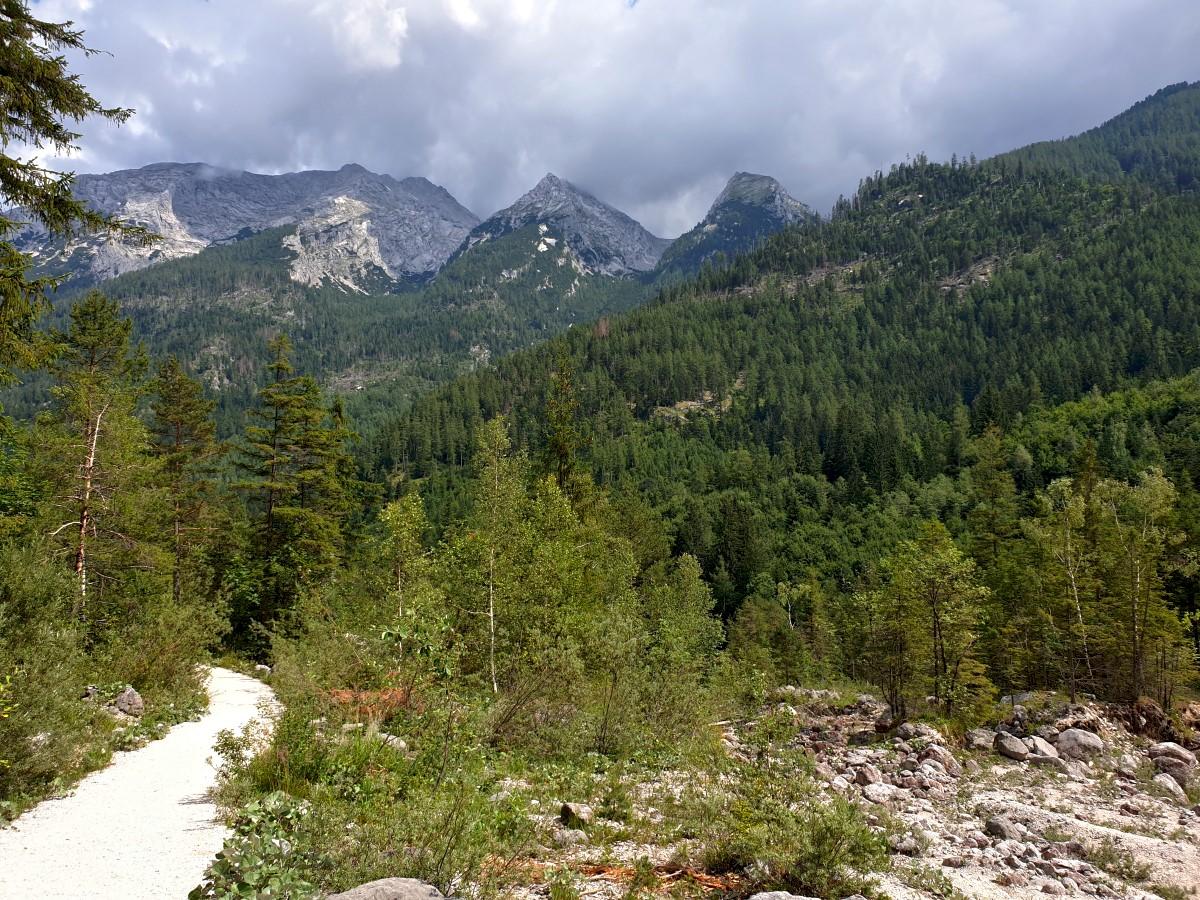 Weiter abwärts durch das Klausbachtal mit Blick zum Hochkaltermassiv