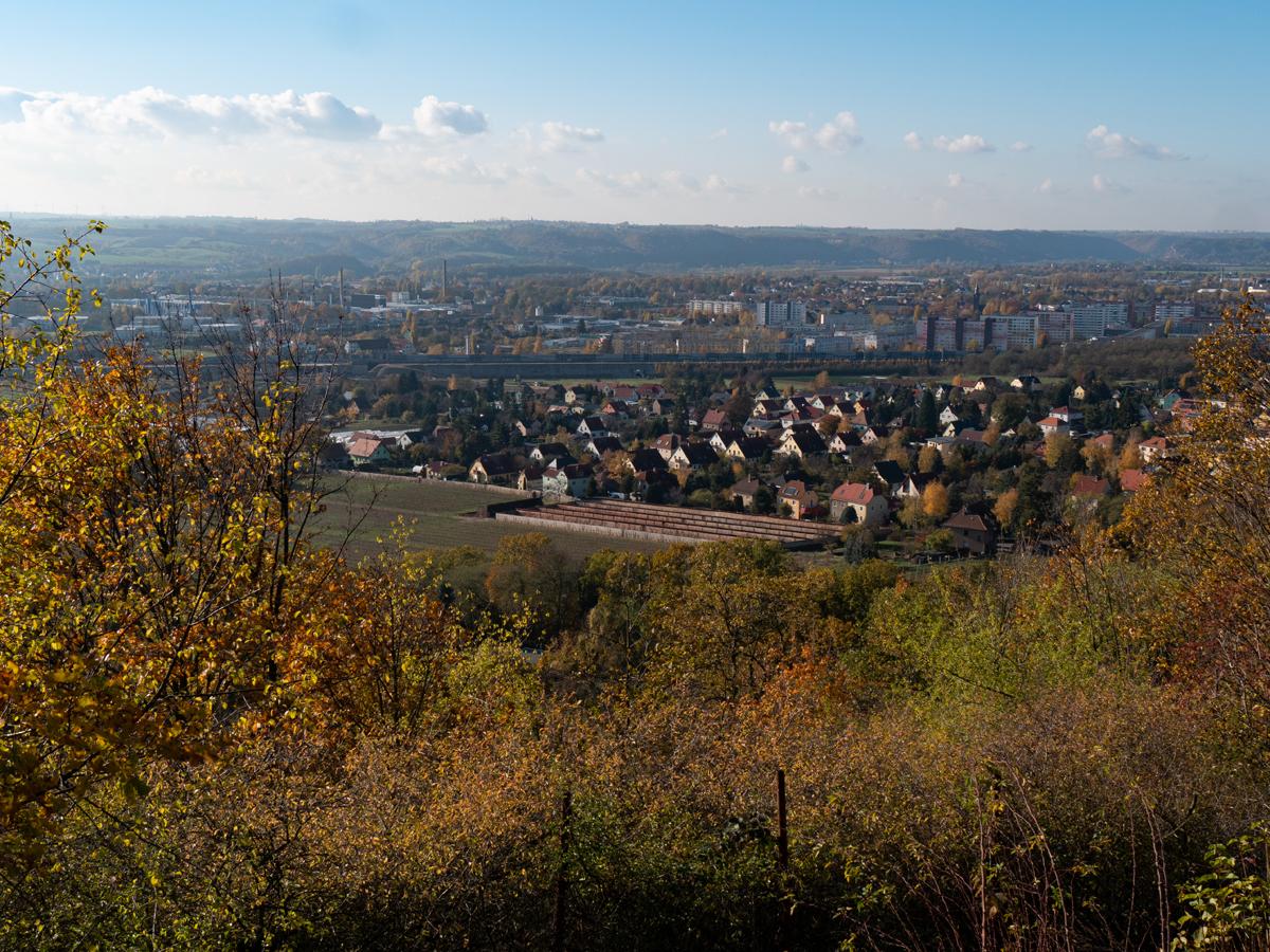 Blick über die Talutanlage am Krapenberg nach Coswig