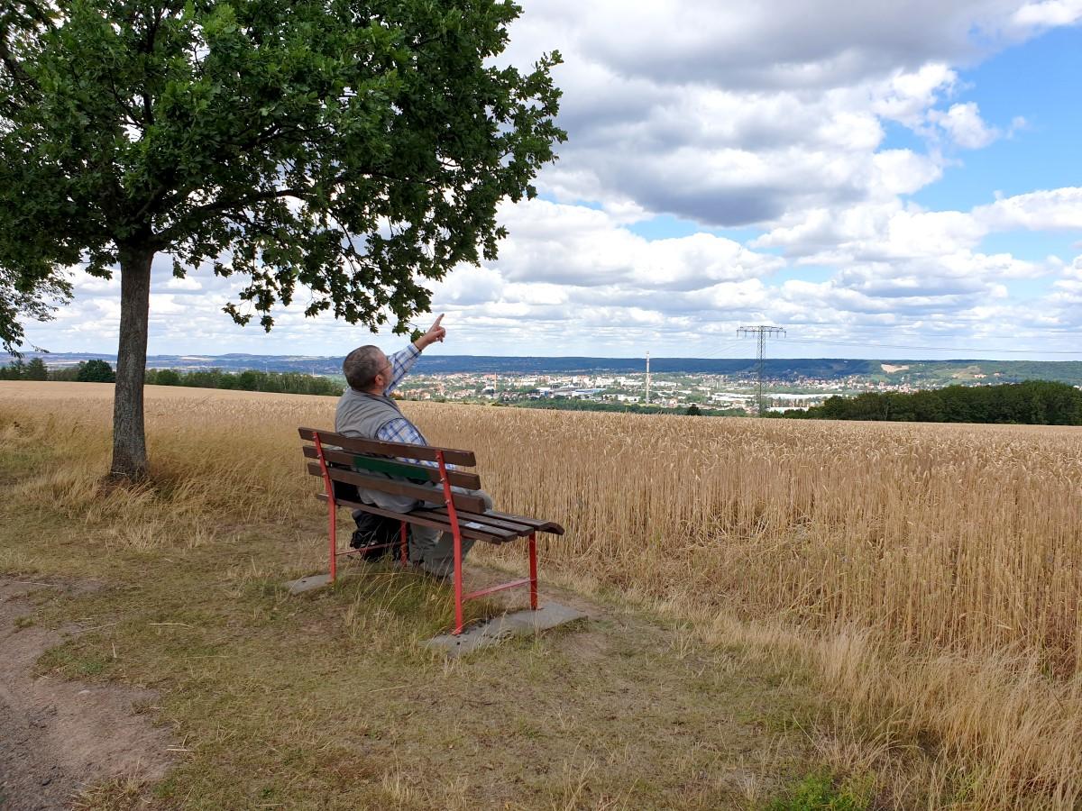 Auf der Aussichtsbank am Prinzberg kann man nicht nur über das Elbtal schauen, sondern auch Lerchen in ihrem Flug beobachten...