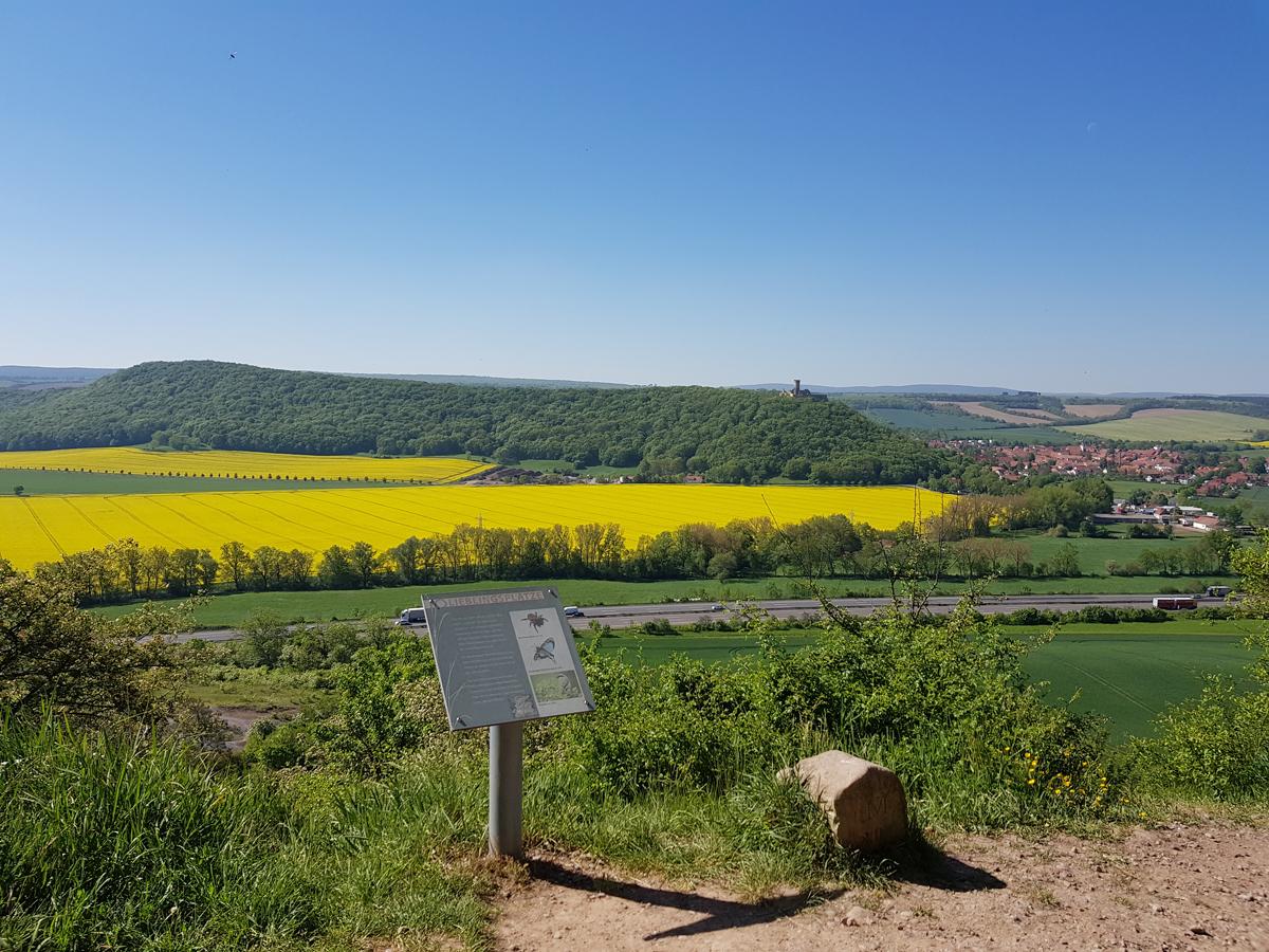 Aufstiegsweg zur Burg Gleichen mit Blick zur Mühlburg