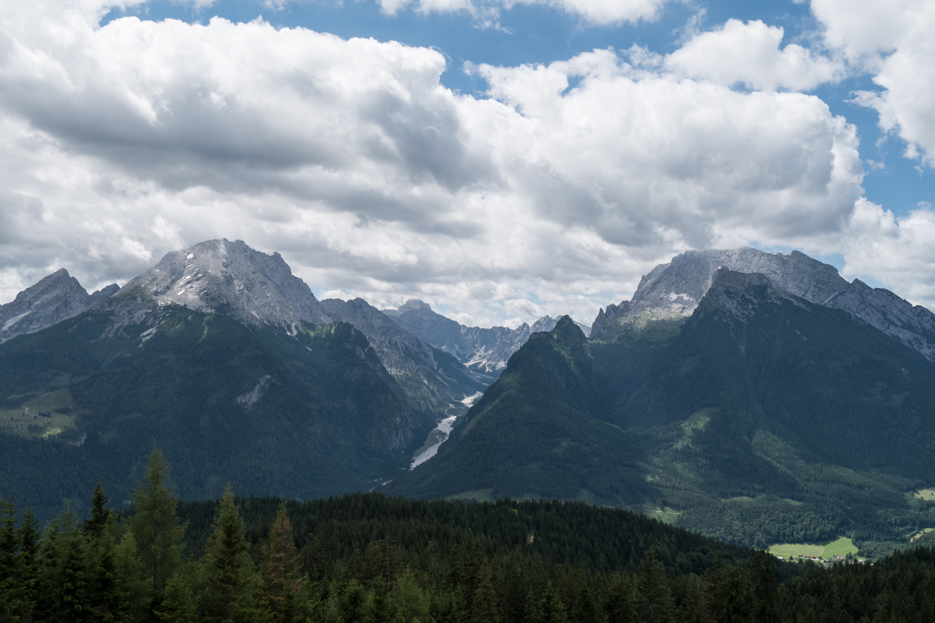 Blick vom Hirscheck zum Watzmann, Hochkalter und in das Wimbachgries