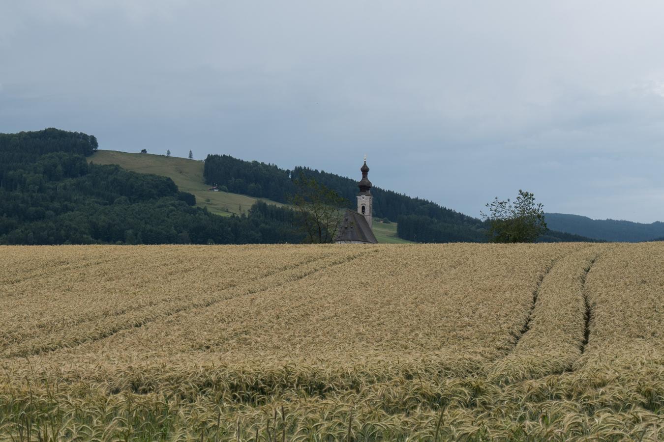 Blick zur Kirche in Anger und zur Fürmannalm