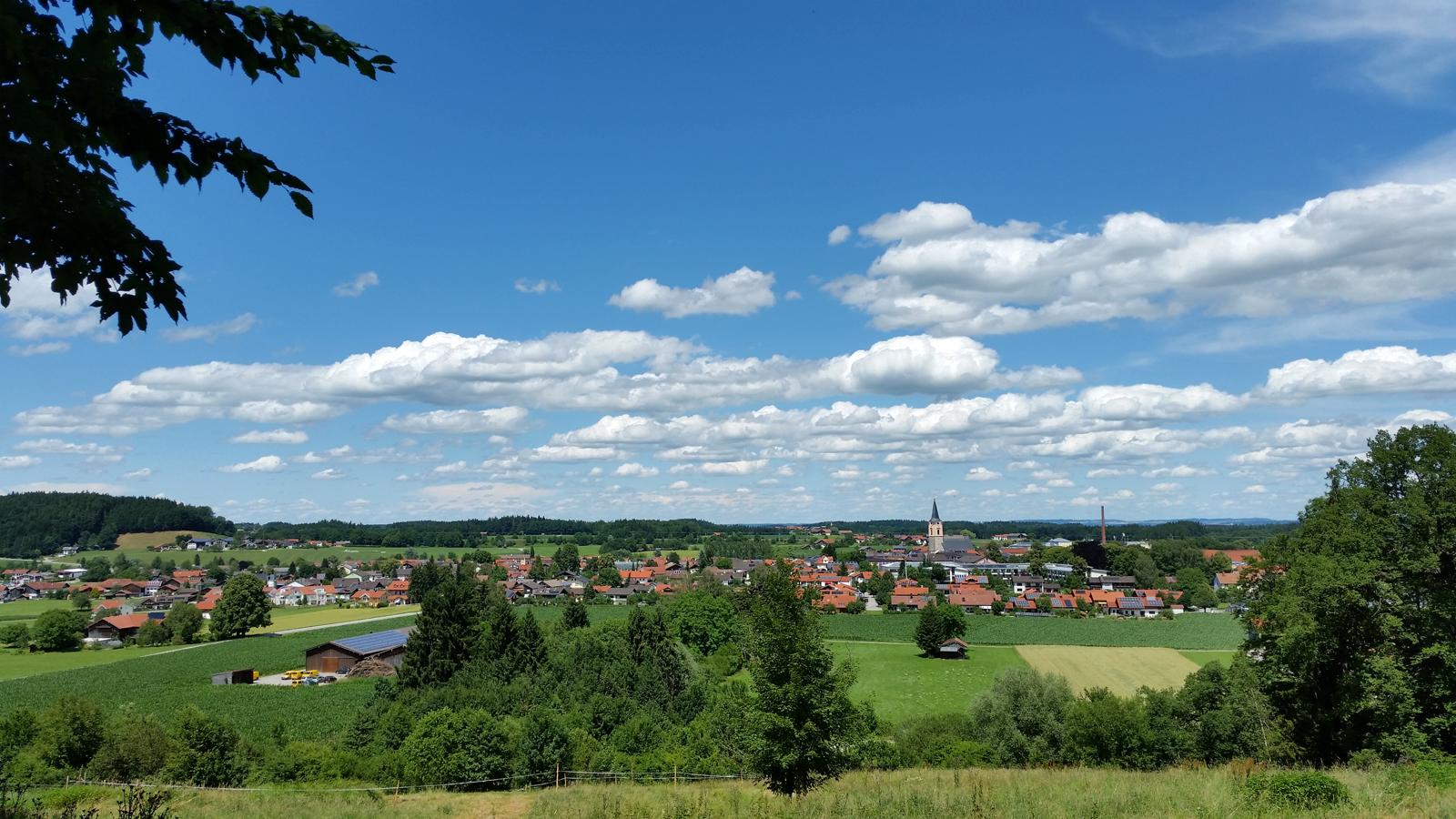 Blick auf Teisendorf vom Waldlehrpfad
