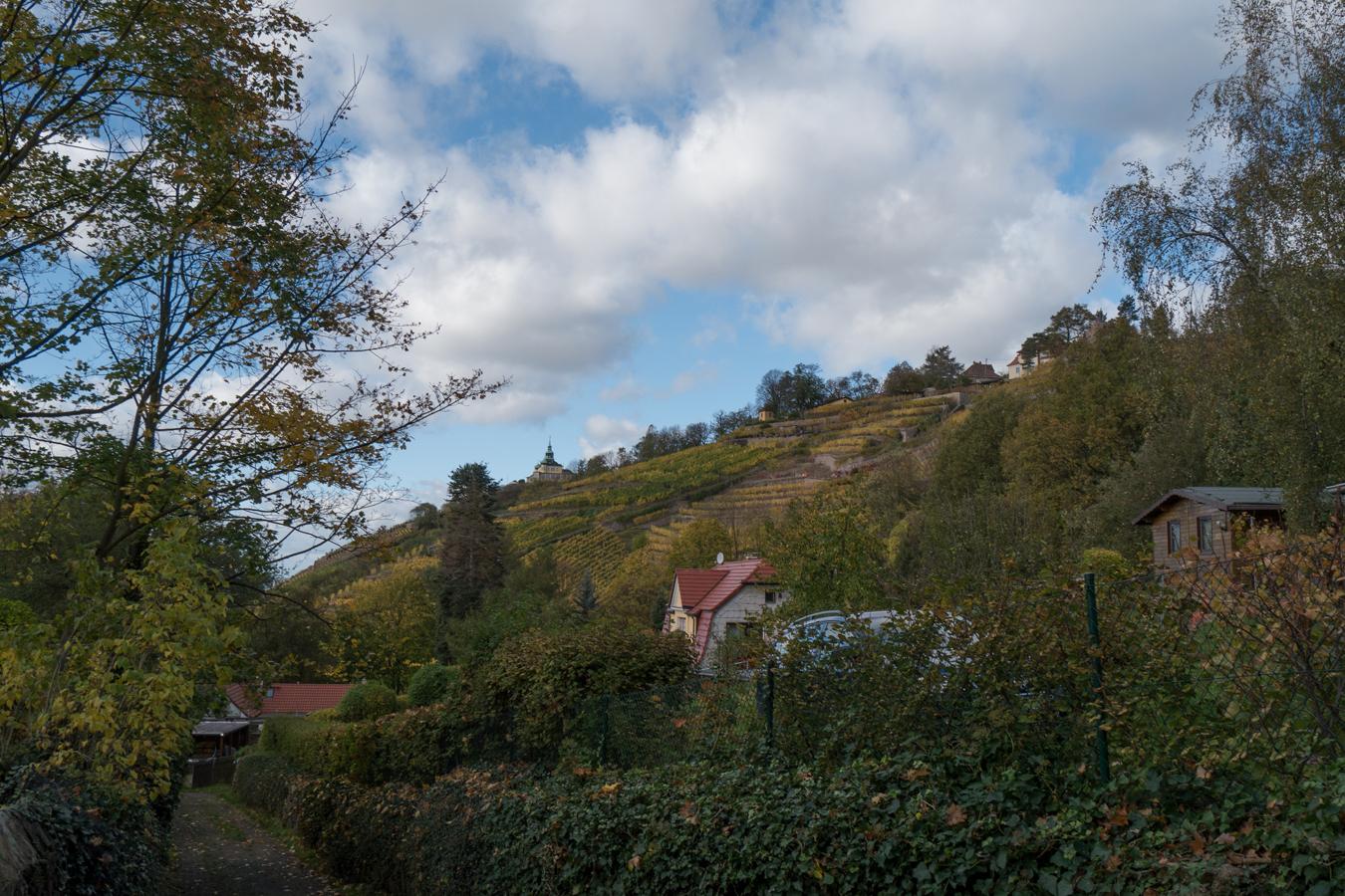 Blick vom Hohlweg zum Spitzhaus
