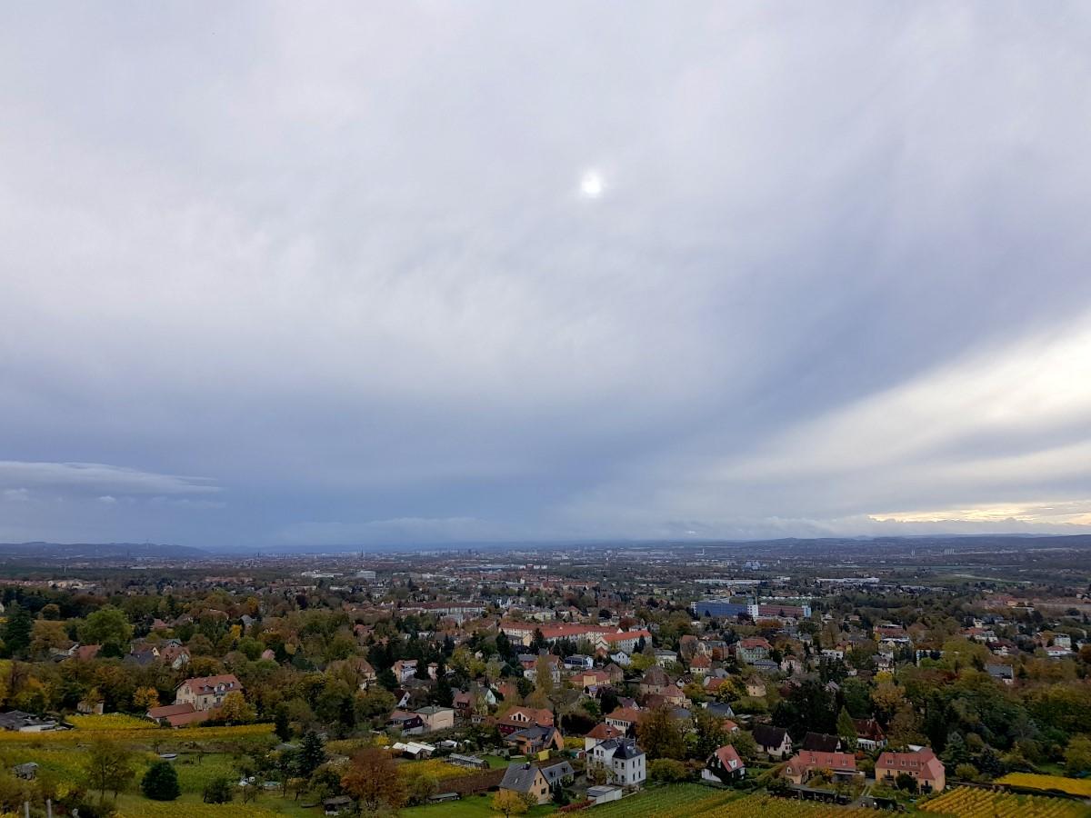 Blick vom Eggersweg über Radebeul