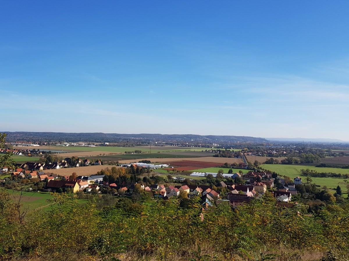 Blick von der Boselspitze über Sörnewitz Richtung Coswig und Weinböhla