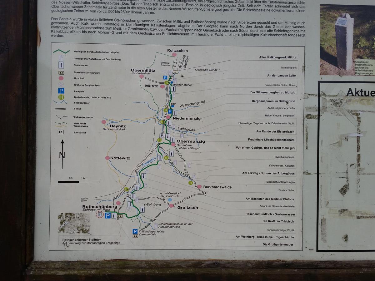 Übersichtstafel am Parkplatz am Jahnbad in Niedermunzig zum Geologisch-bergbauhistorischen Lehrpfad