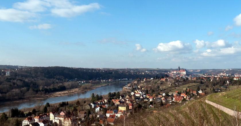 Blick von der Juchhöh im Spaargebirge nach Meißen
