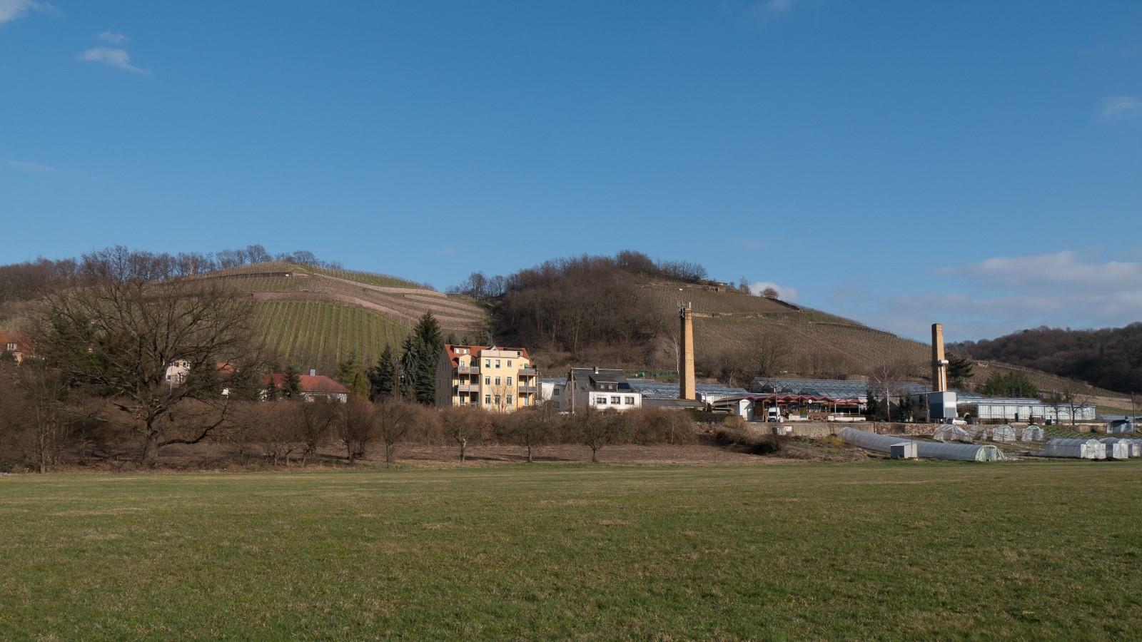 Blick auf das Wandergebiet vom Elberadweg