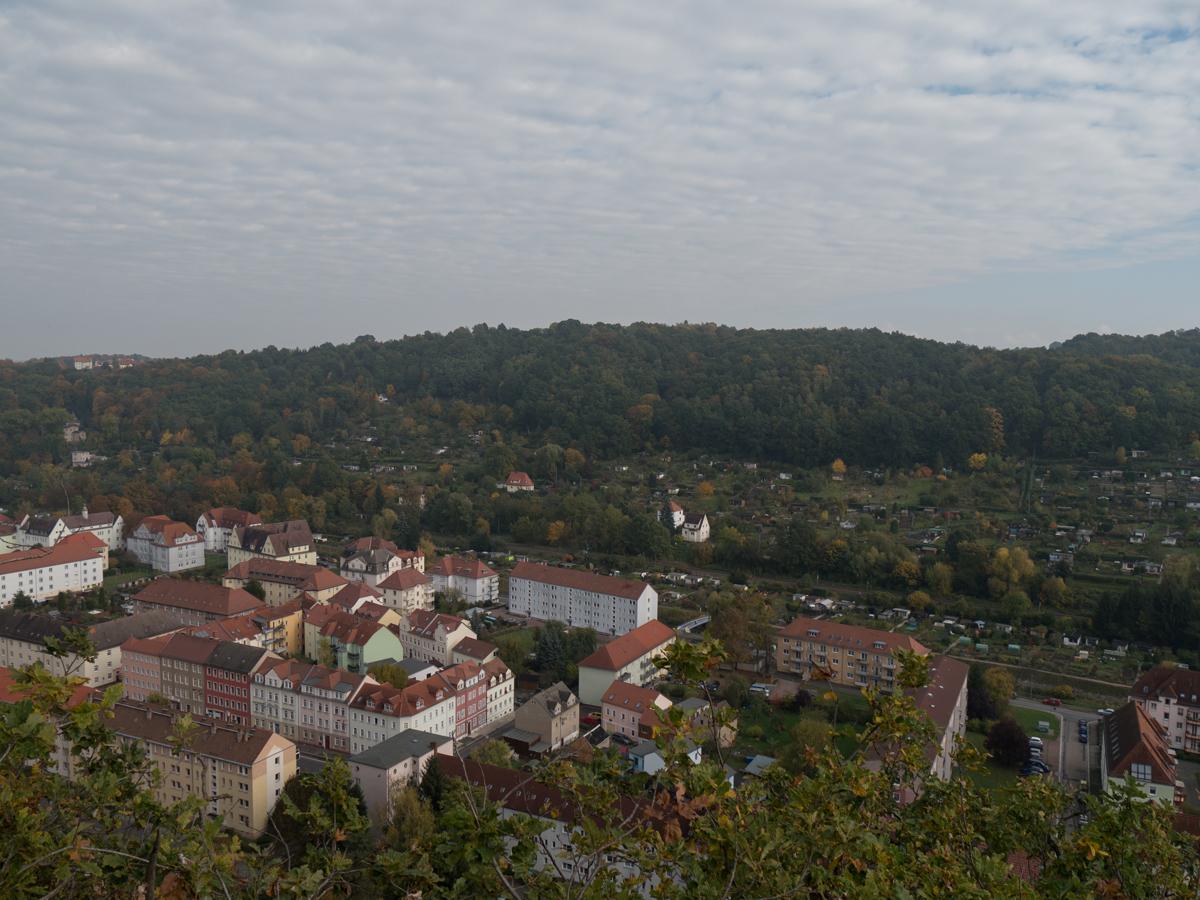 Blick über den Ortsteil Triebischtal Richtung Stadtpark