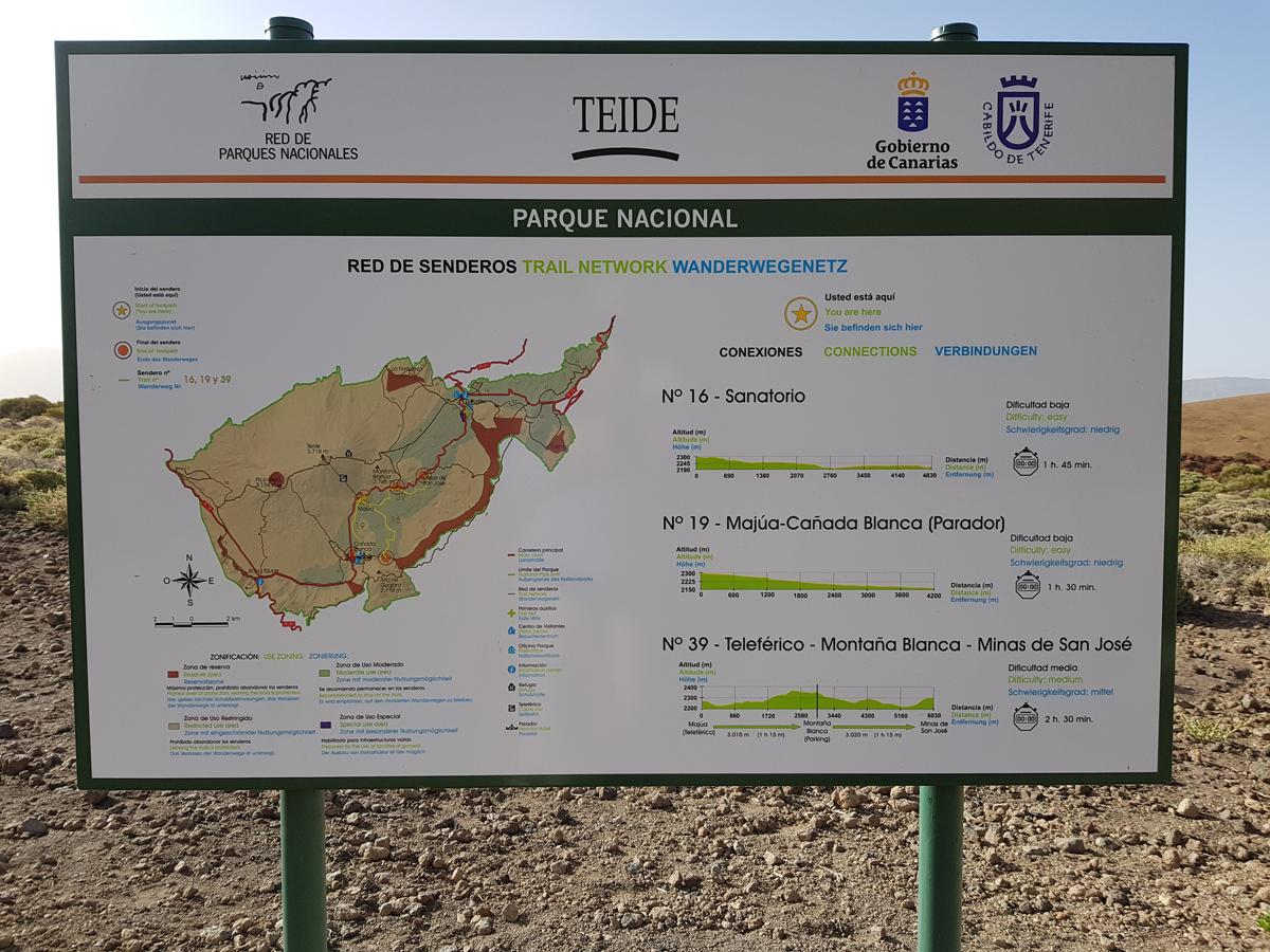 Am Start erstmal den Überblick verschaffen - eines der zahlreichen Tafeln zum Wanderwegenetz des Teide Nationalparks